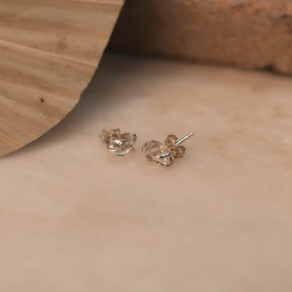 DAVIESA Earrings with Herkimer Diamond - Brass & Silver 1