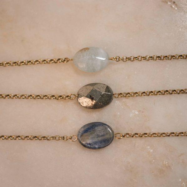 bobini roots chain bracie - single stone; aquamarine, pyrite & kyanite