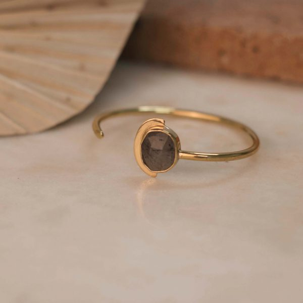 LOASA Cuff with Tourmaline Quartz Brass Silver