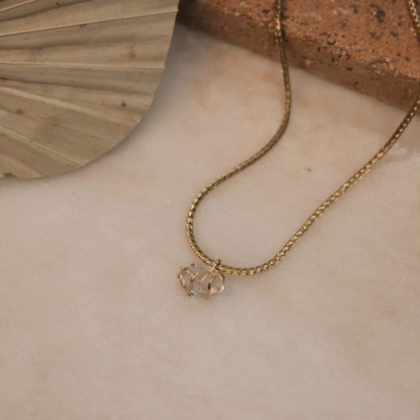 DAVIESA Snake Necklace with Herkimer Diamond Brass 1
