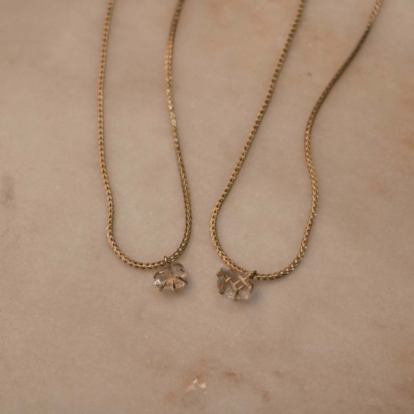 DAVIESA Snake Necklace with Herkimer Diamond Brass 2