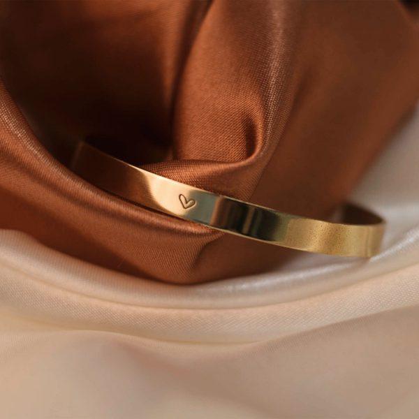 Heart Cuff on Multicolored Silk - Brass 2.