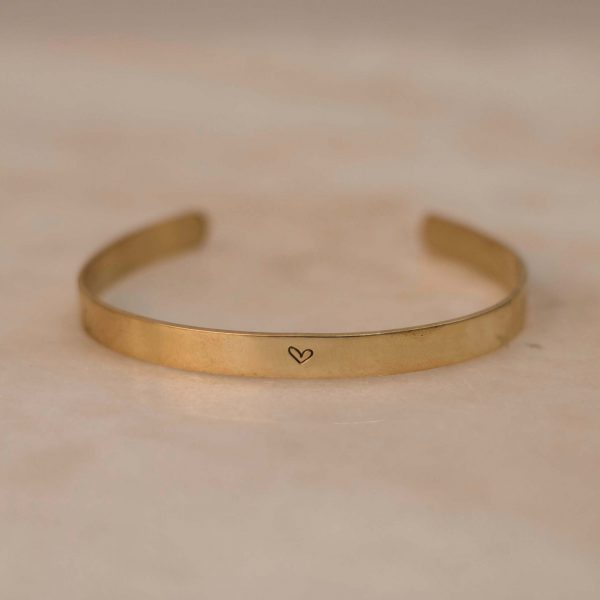 WOR-L-D Cuff with Heart - Brass 3
