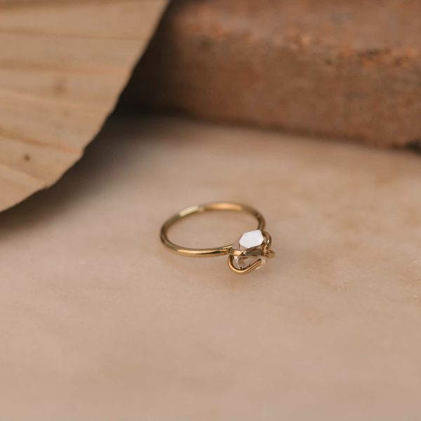 DAVIESA Ring with Herkimer Diamond - Brass 3