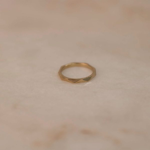 Facet Ring on Silk - Brass