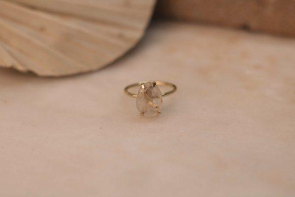 Few Of A Kind LOBELIA Ring with Gold Rutile Quartz - Brass 1.