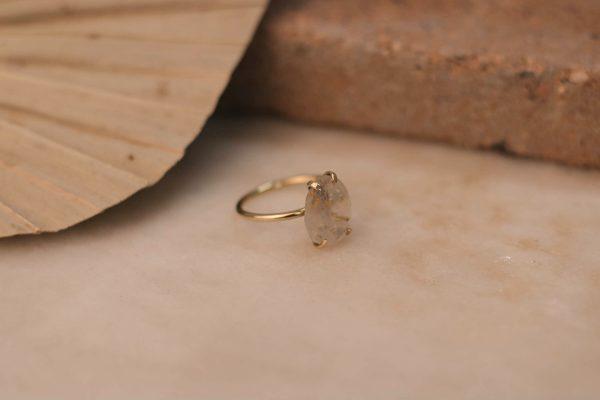 Few Of A Kind LOBELIA Ring with Gold Rutile Quartz - Brass 3