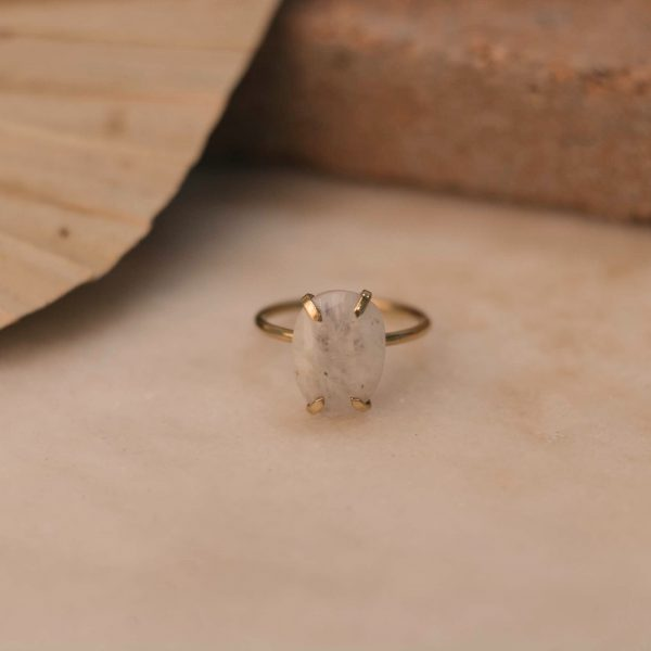 LOBELIA Ring with Moonstone - Brass 1.1