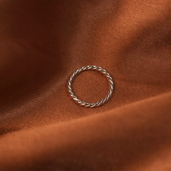 Twist Ring on Rust Colored Silk - Silver 1