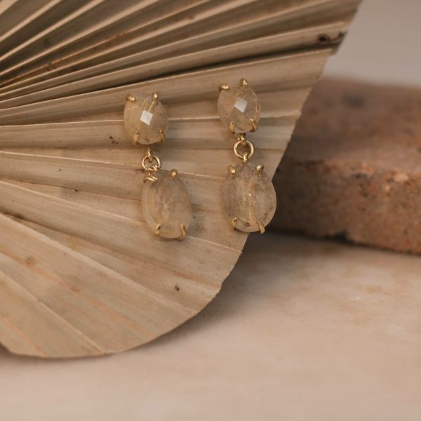 Double LOBELIA Earrings Rutile Quartz - Brass & Silver 1.2