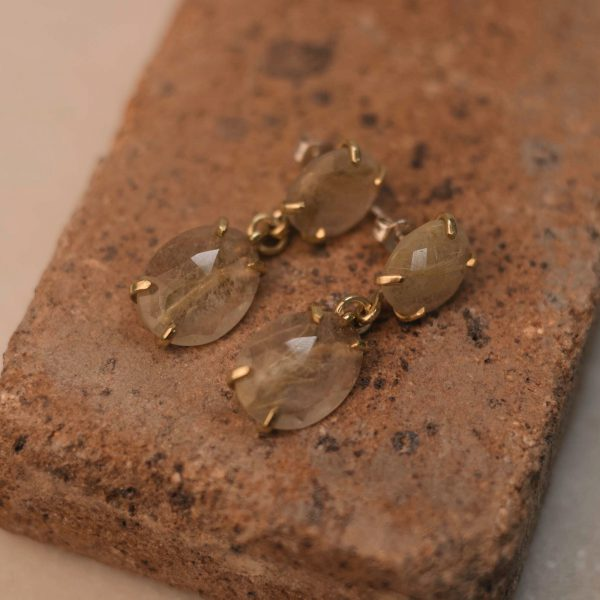 Double LOBELIA Earrings Rutile Quartz - Brass & Silver 2