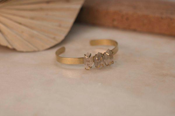 DAVIESA Cuff Herkimer Diamond - Brass 2