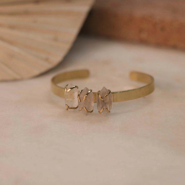 DAVIESA Cuff Herkimer Diamond - Brass