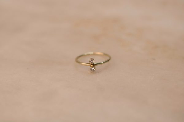 North South Ring with Moissanite - 14k Gold 1