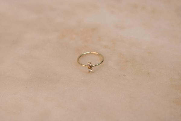 North South Ring with Moissanite - 14k Gold 1.2