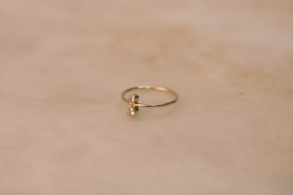 North South Ring with Moissanite - 14k Gold 2