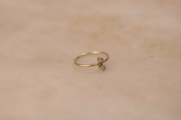 North South Ring with Moissanite - 14k Gold 3