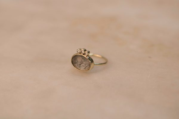 Oval Rutile Quartz Ring with Triple Moissanite - 14k Gold 2