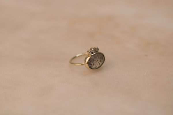 Oval Rutile Quartz Ring with Triple Moissanite - 14k Gold (3)