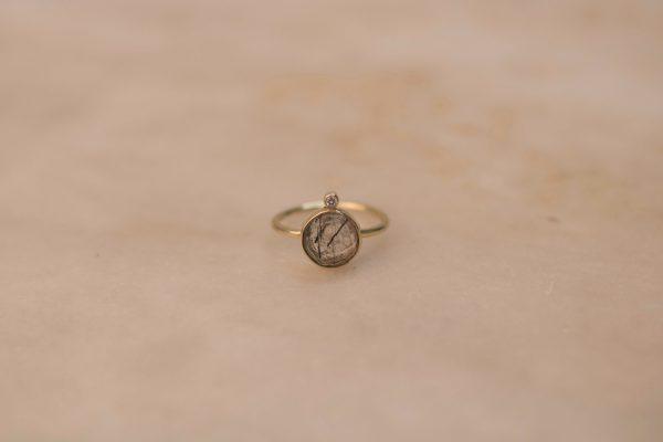 Round Rutile Quartz Ring with Moissanite - 14k Gold 1