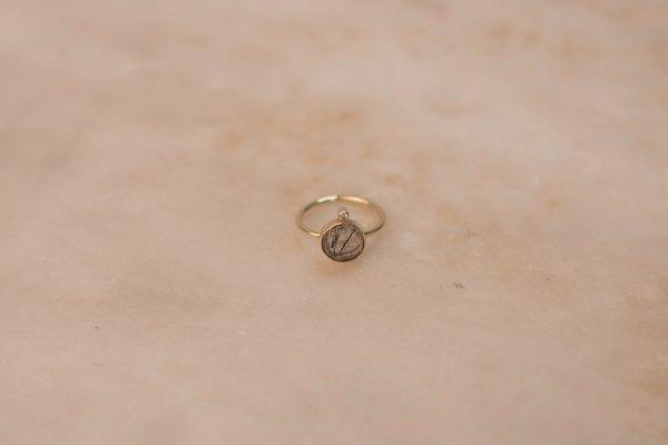 Round Rutile Quartz Ring with Moissanite - 14k Gold 1.2