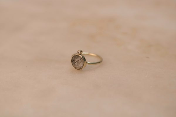 Round Rutile Quartz Ring with Moissanite - 14k Gold 2