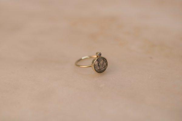 Round Rutile Quartz Ring with Moissanite - 14k Gold 3