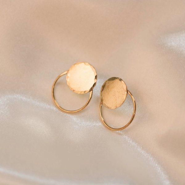 Disc-Circle-Earrings-on-Silk-Brass-1