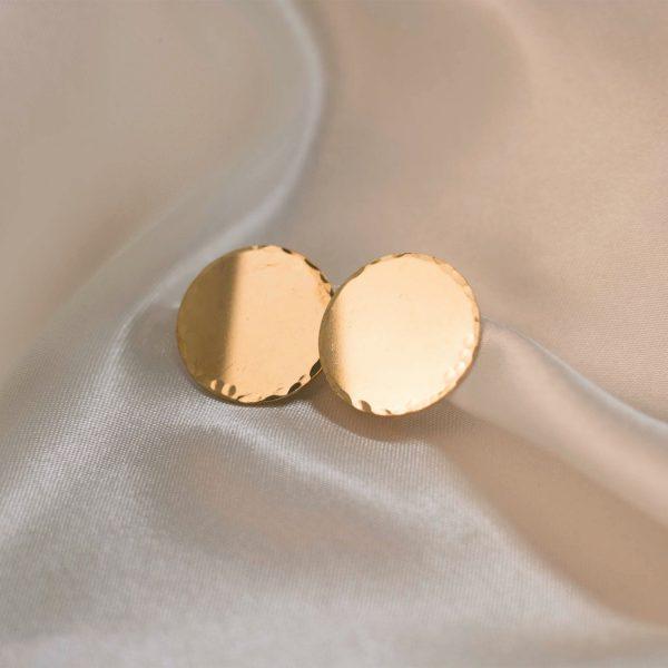 Disc Earrings on Silk - Brass 1