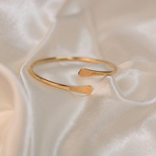 Spiral Cuff on Silk - Brass 2.
