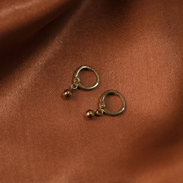 Tiny Hoops on Rust Colored Silk - Brass 2