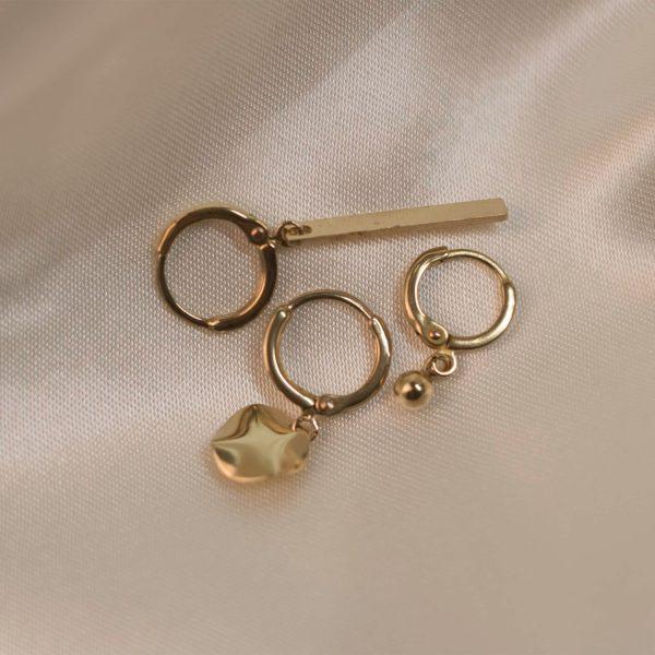 Tiny Hoops on Silk - Brass 2