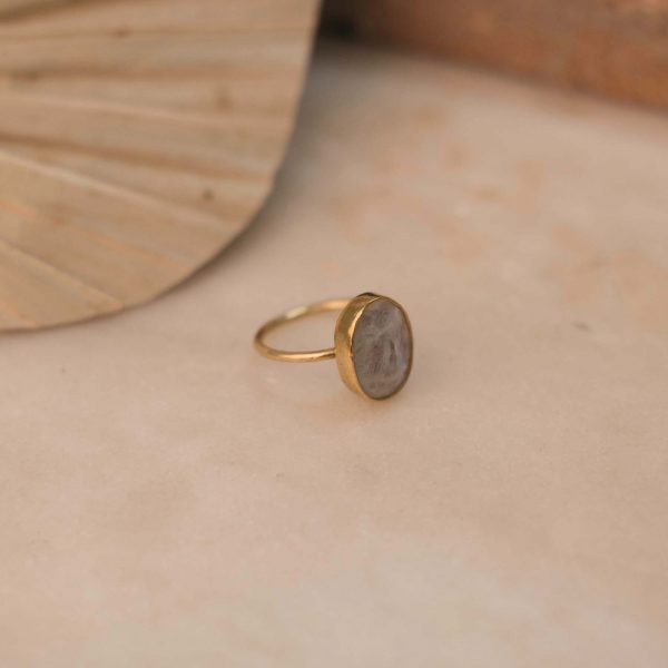 PRIMULA ring Moonstone Large - Brass & Silver 2