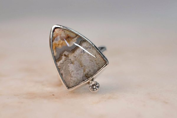 Statement Ring with Shield Jasper & Moissanite - Silver Bobini Roots 2