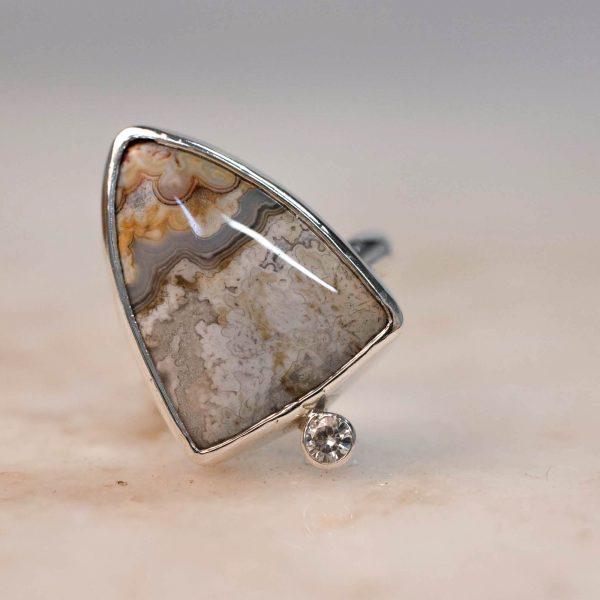 Statement Ring with Shield Jasper & Moissanite - Silver Bobini Roots 2