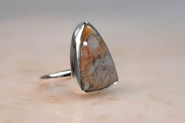 Statement Ring with Shield Jasper Silver Bobini Roots 3