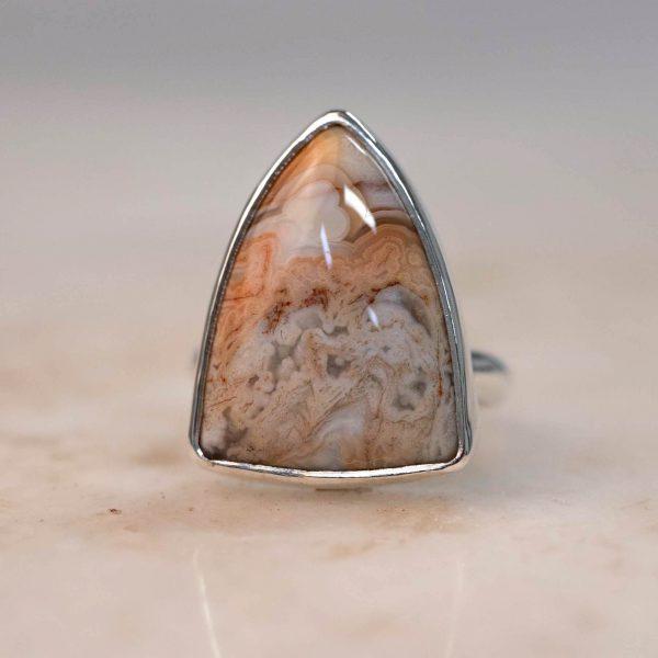 Statement Ring with Shield Jasper Silver Bobini Roots