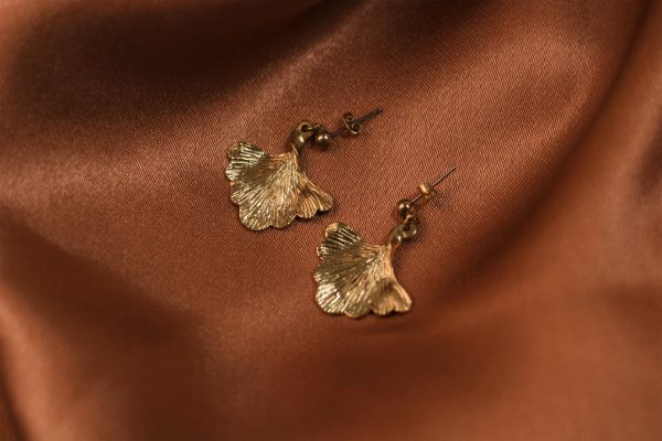 Ginkgo Earrings on Silk - Brass 2