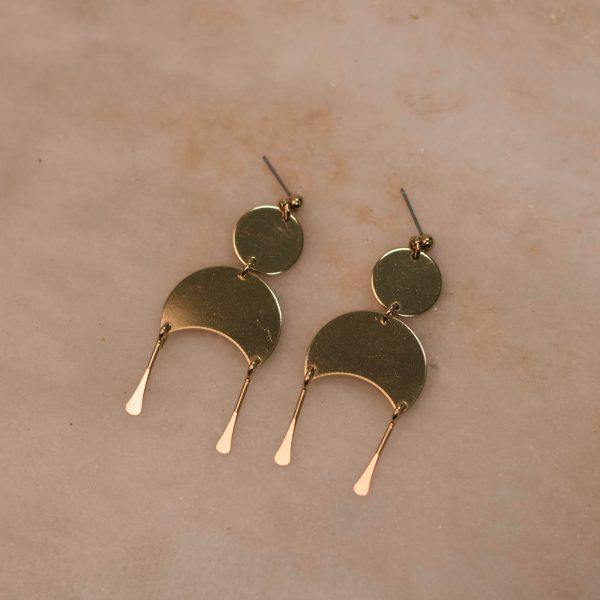 Moon Earrings - Brass 1