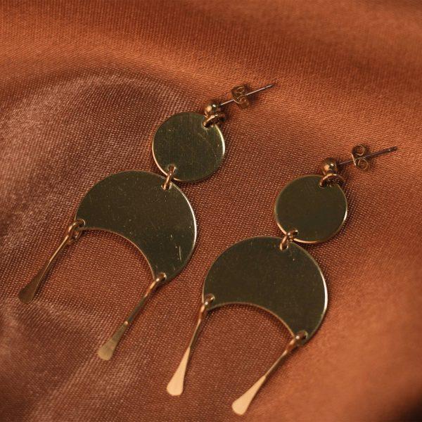 Moon Earrings on Rust Colored Silk - Brass 1
