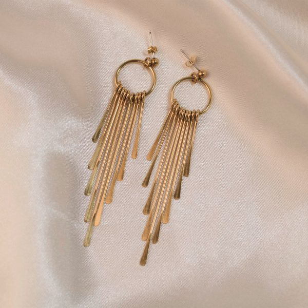 Waterfall Earrings on Silk - Brass
