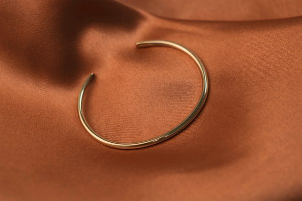 Basic Cuff on Rust Colored Silk - Brass
