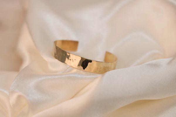 Wide Hammered Cuff on Silk - Brass 6