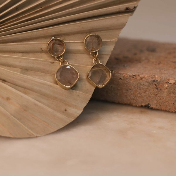 Double PRIMULA Earrings Rutile Quartz - Brass 1.1