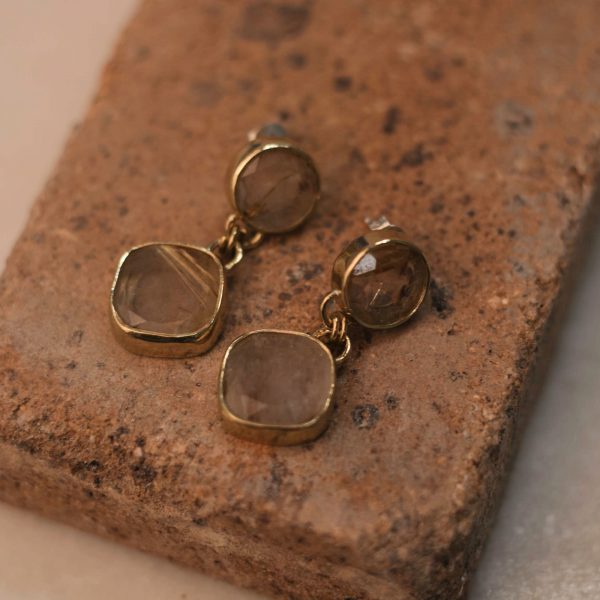 Double PRIMULA Earrings Rutile Quartz - Brass 2