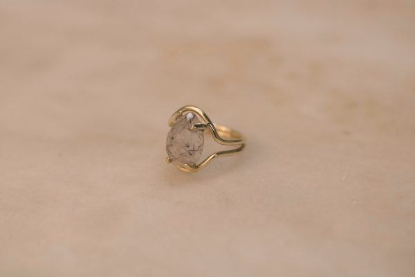 Double Curve Ring with Teardrop Rutile Quartz - 14k Gold 2