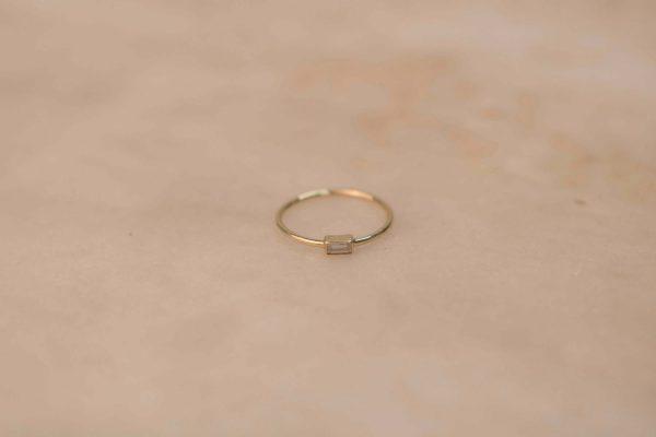Moissanite Baguette Ring - 14k Yellow Gold (1)