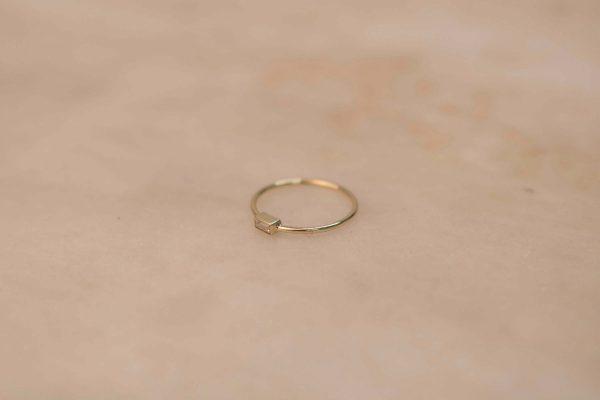 Moissanite Baguette Ring - 14k Yellow Gold 2