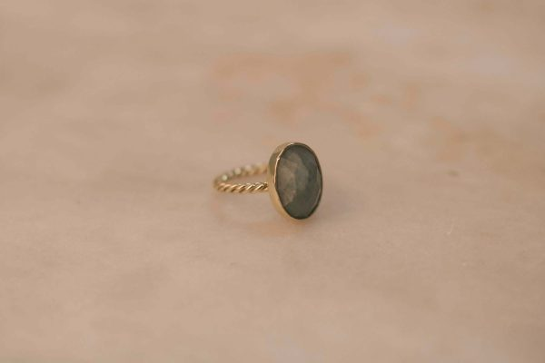Oval Aquamarine Twist Ring 14k Gold 3.1