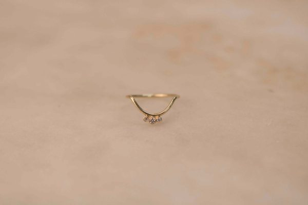 Small Curve & Triple Moissanite Ring - 14k Gold (1)